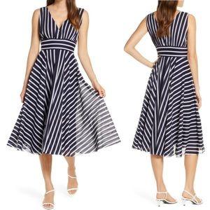 Eliza J Stripe Sleeveless Fit & Flare Dress